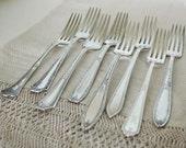 Reserved for Summer  -   8 Vintage Mismatched Silver plate Dinner Forks