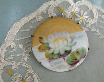 Water Lilly Painted Porcelain Brooch     SALE - was 29.00