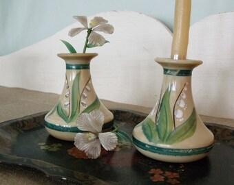 Antique German Custard Glass Bud Vases     SALE - was 28.00