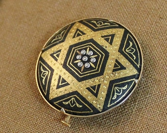 Vintage Spanish Damascene Round Star Brooch    SALE - was 29.00