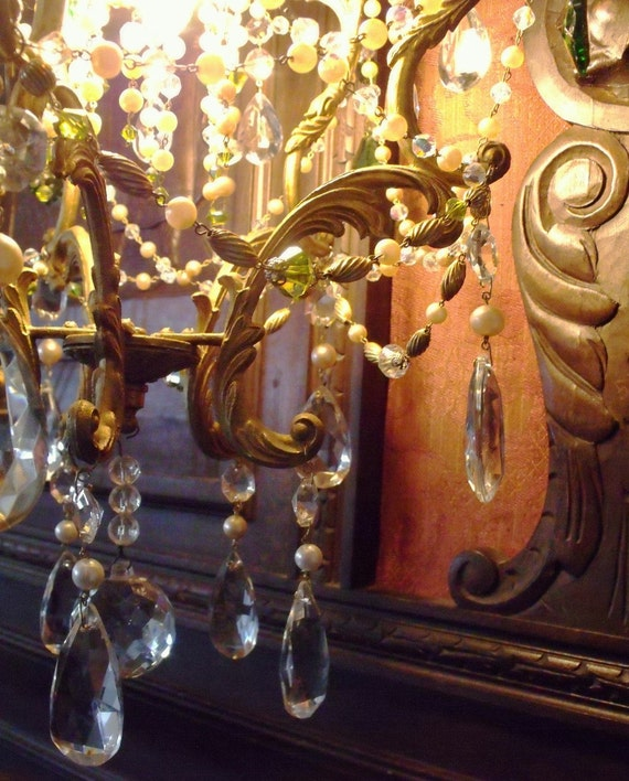 Lustrous pearls and sparkle glass upcycled vintage chandelier Free US shipping