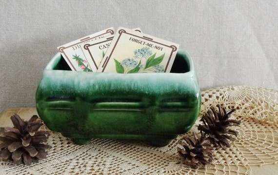 Vintage Green Pottery Planter