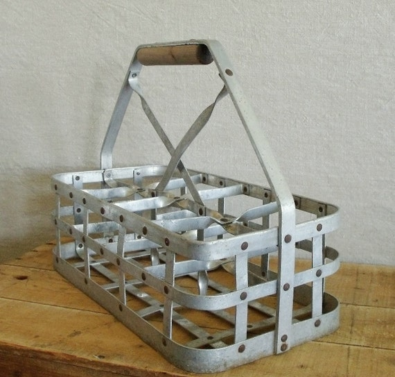 Vintage metal milk carrier crate for Metal shipping crate