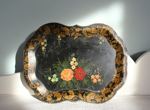 Antique Hand Painted ToleWare Tray  Tole Ware