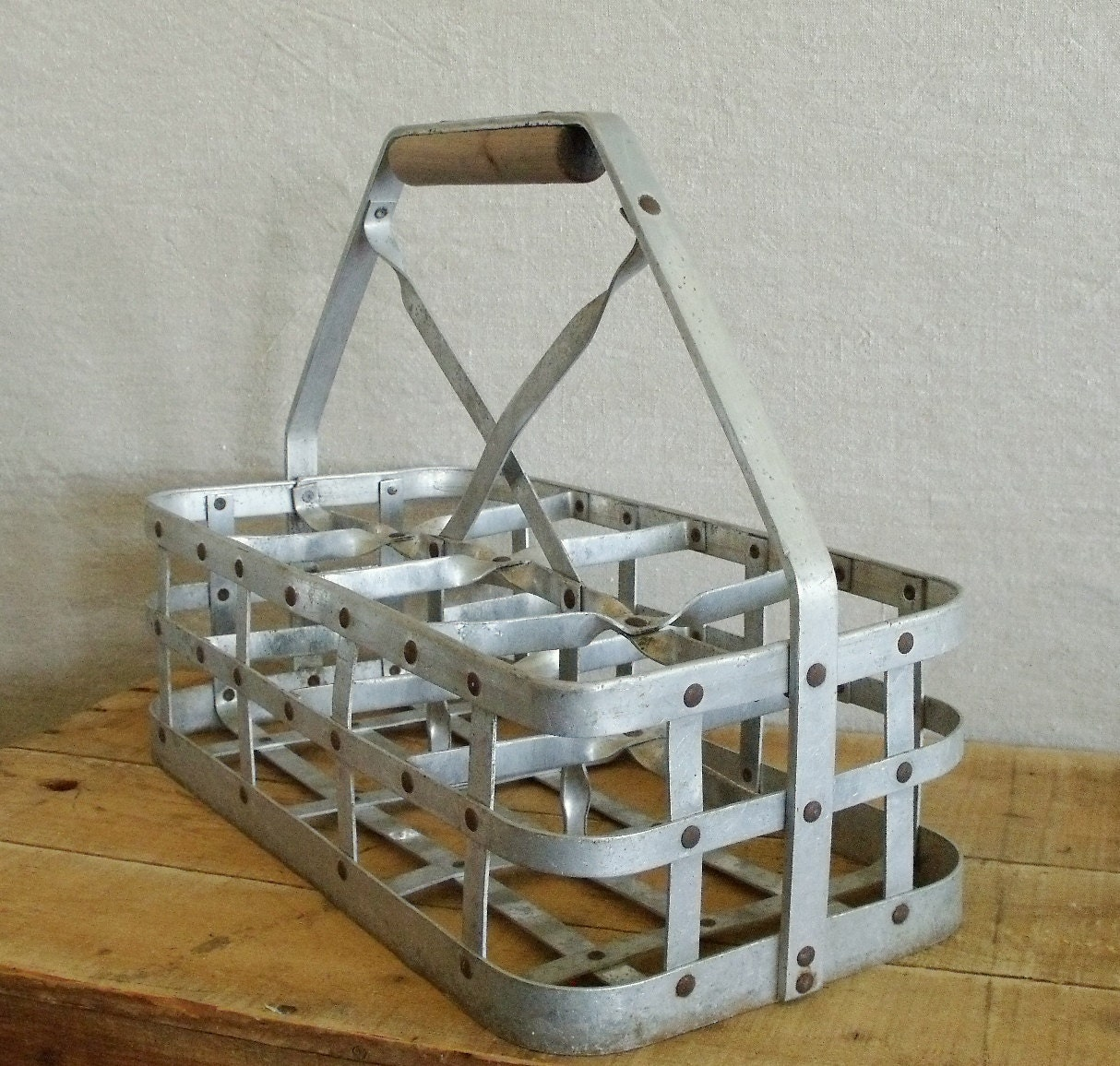 Vintage Metal Milk Carrier Crate