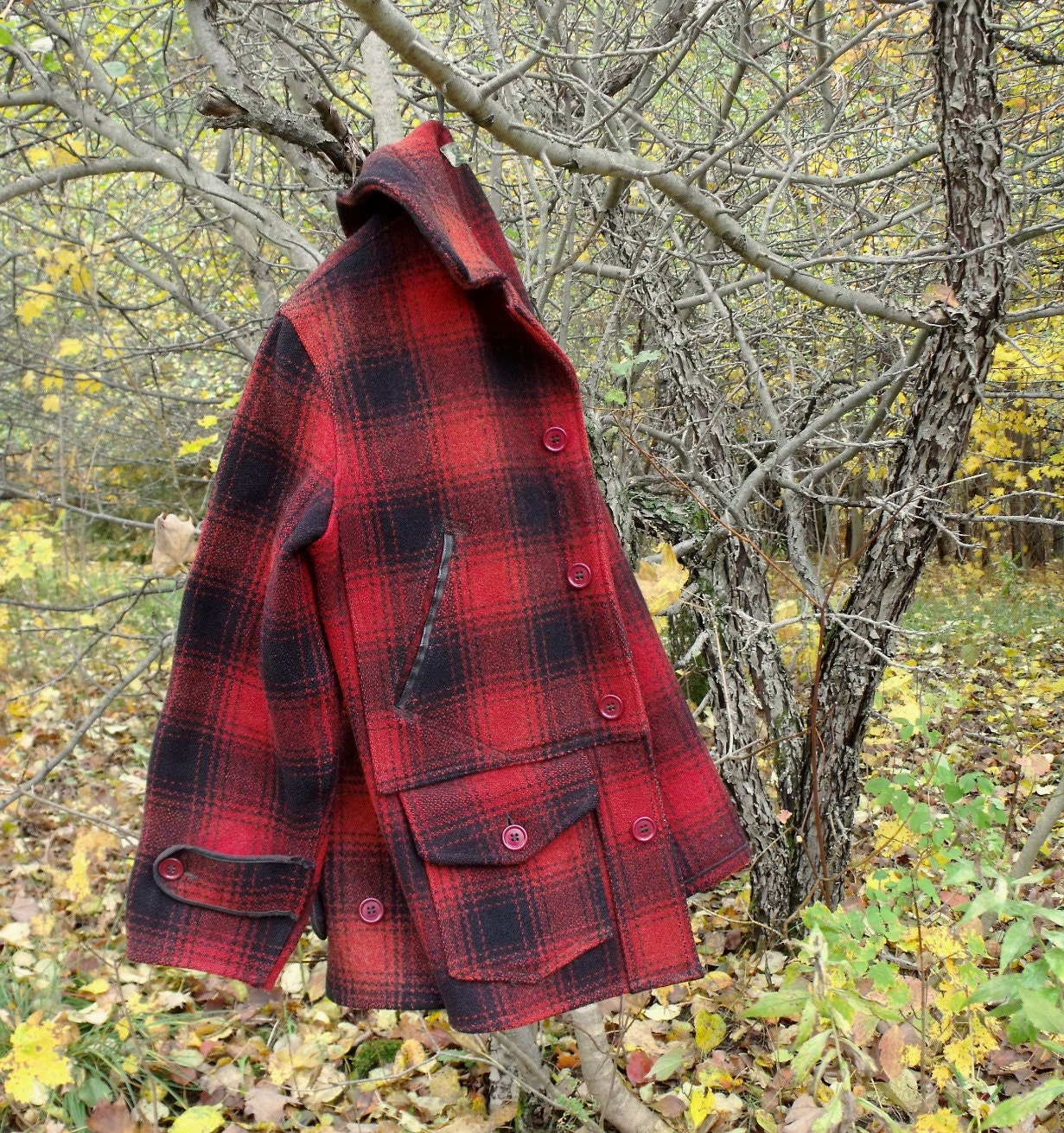 Vintage Heavy Red Plaid Wool Hunting Jacket