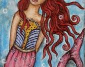 Princess Mermaid - 4 x 6 inches - Original Folk Art OSWOA Painting