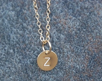 Hand stamped Necklace,  Monogram Necklace, Initial Necklace, Letter press Necklace, 14K gold filled 10 mm disc Necklace