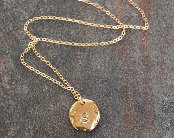Hammered Gold Monogram Initial Necklace, Hand Stamped Necklace, Monogram Necklace, Gold Letter Necklace, Nala
