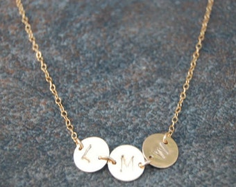 Triple Gold Monogram Initial Necklace, Personalized Necklace, Initial Necklace, Hand Stamped Necklace, Gold Disc Necklace, Michelle