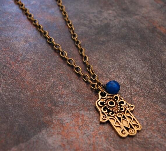 Long Hamsa Necklace, Hamsa Necklace, Quiet Time