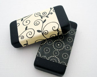 Altered Art Domino Magnets Set of 2 --Retro-- Black, Cream
