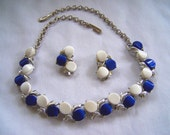 Royal Blue and White Thermoset Parure