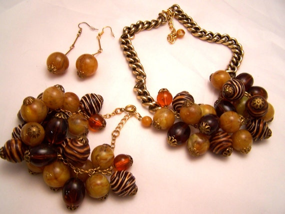Amber and Sienna Fruit Salad Necklace, Bracelet and Earrings