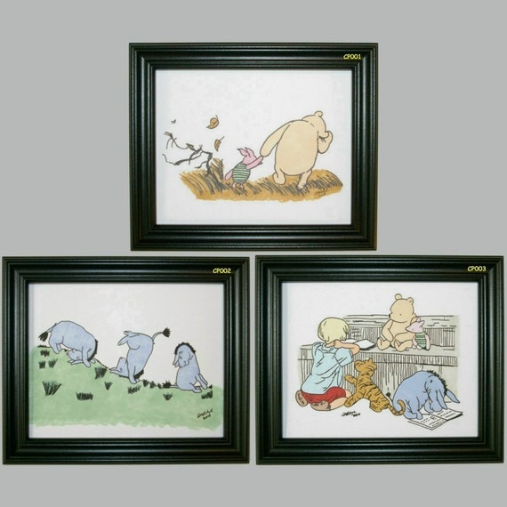 Classic pooh wall decor hand drawn hand inked set of 3 sale for Classic pooh mural