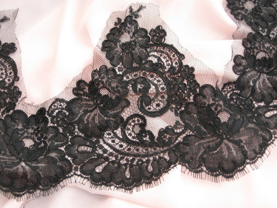 Custom listing for Jen  french lace trim  black reimbroidered