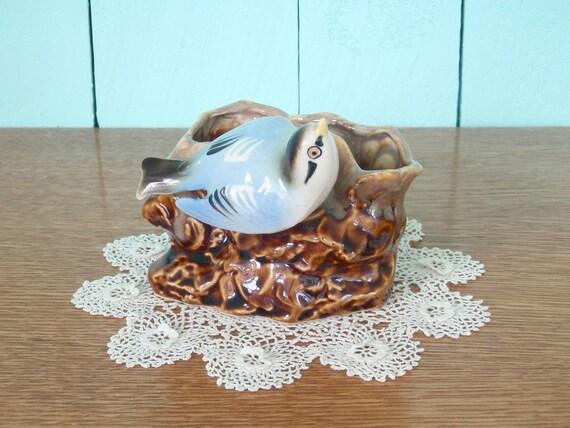 Japanese Ceramic Bluebird Planter
