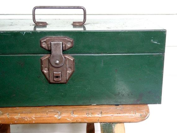 Vintage Green Metal Toolbox