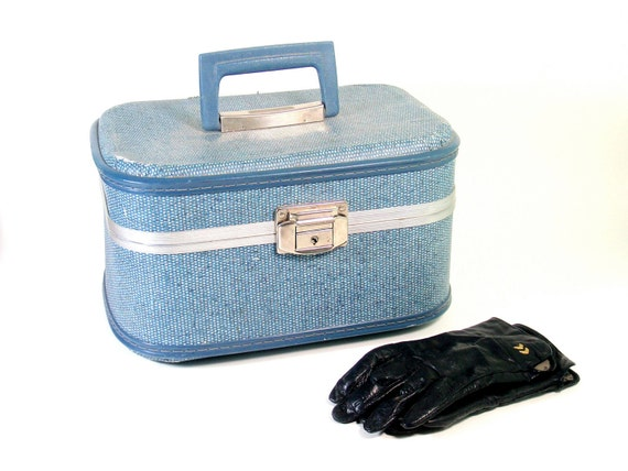 RESERVED FOR SM Blue Denim-Look Train Case