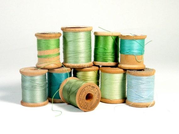 Wooden Spools of Thread - Mix of Blues & Greens