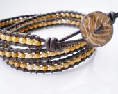 Leather Wrap Bracelet Czech Glass Beads Natural Button