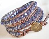 CzechGlass Leather Wrap Bracelet Montana Blue 3X under 50
