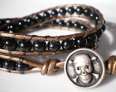 Skull and Cross Bones Leather Wrap Bracelet Black Glass Beads