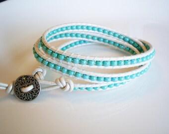 Summer Fashion Leather Wrap Bracelet Anklet 3X Turquoise Czech Glass