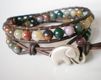 Elephant Bracelet Wrap Bracelet with Elephant Fancy Jasper under 50