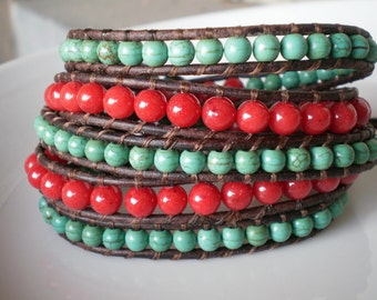 Southwest Leather Wrap 5X Red Mountain Jade and Turquoise Magnesite