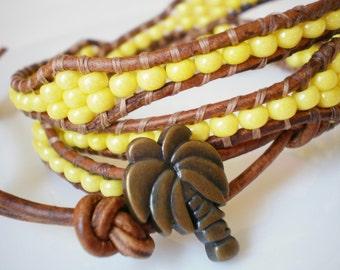 Palm Tree Button Banana Yellow Bracelet Anklet Three Wrap
