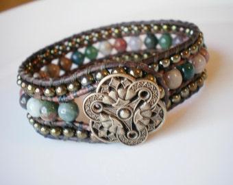 Cuff Bracelet Beaded Leather Fancy Jasper Czech Glass