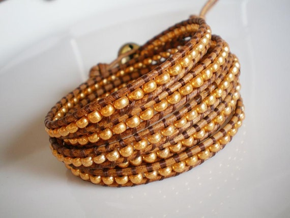 Free Shipping Chan Luu Style Leather Wrap Bracelet 5X Gold Czech Glass