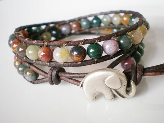 Elephant Bracelet Wrap Bracelet with Elephant Fancy Jasper under 50