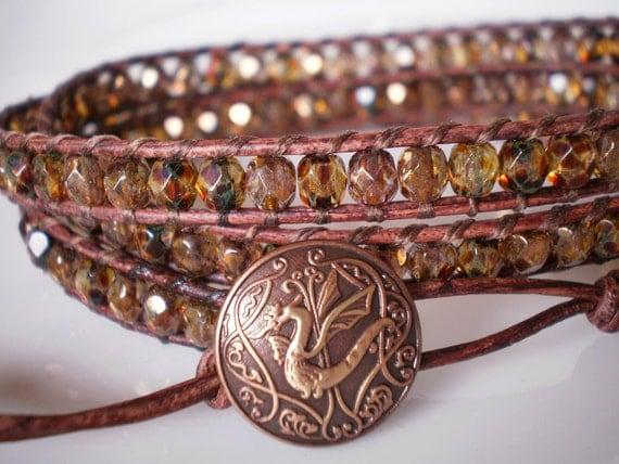 Year of the Dragon Copper Golden Czech Glass Bracelet