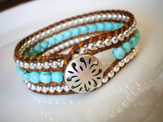 Cyber Monday Turquoise Magnesite Leather Beaded Cuff Bracelet Cutwork Button