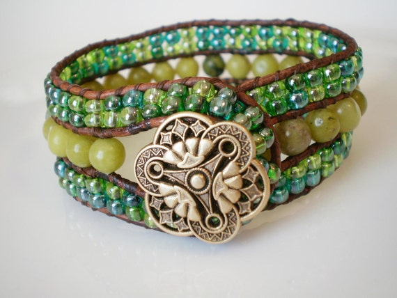 SALE Olive New Jade Single Wrap Beaded Leather Bracelet