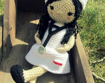Crochet Nurse Doll with Nurse Hat and Stethoscope - You choose the color Made To Order