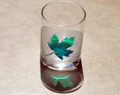 Etched Glass Maple Votive Cup - Green