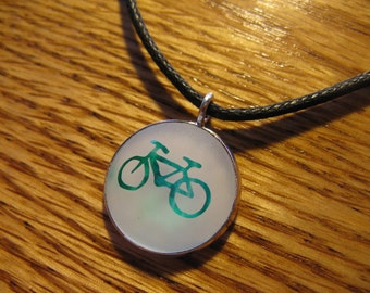 Bicycle - Etched Glass Pendant - Green and Blue