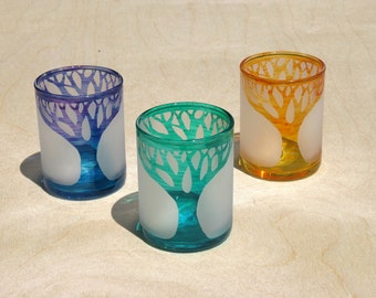 Trees - Etched Glass Votive Cups - Set of 3