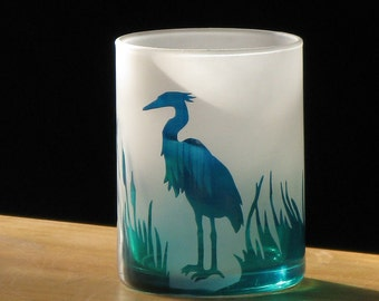 Blue Heron - Etched Glass Votive Cup