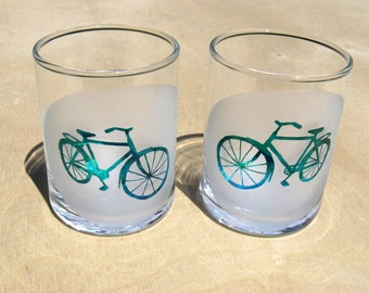 Bicycles - Etched Glass Votive Cups - Set of 2 - Green and Blue Retro Bikes