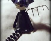 Cute creepy little goth Fairy doll ornament Purple and Black
