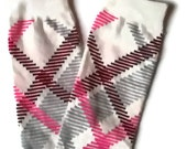 CLEARANCE SALE Ivory Baby Leg Warmers with Pink Gray and Maroon Stripes Fits Most Infants Toddlers and Children