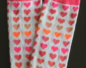 CLEARANCE SALE Baby Leg Warmers White with Pink Peach Coral and Orange Hearts Fits Most Infants Toddlers and Children