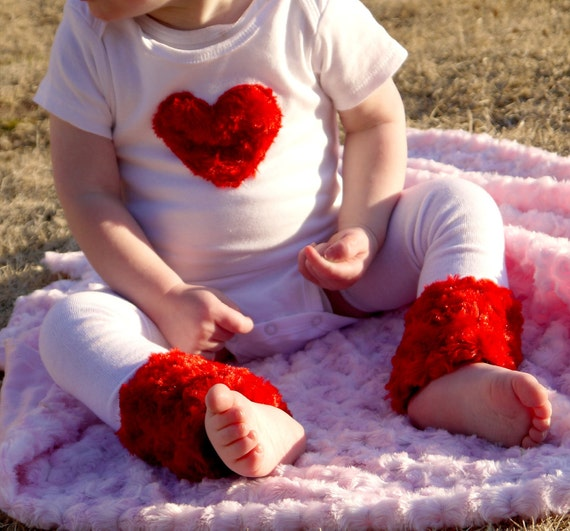 Valentine's Day Onesie with Red Heart Short or Long Sleeve with Matching Baby Leg Warmers