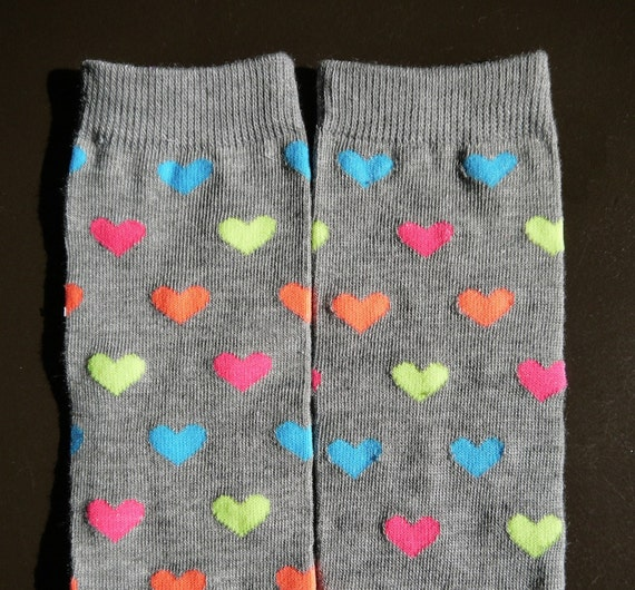 SALE Grey Leg Warmers with Bright Hearts in blue, yellow, orange, and pink Fits Most Infants Toddlers and Children
