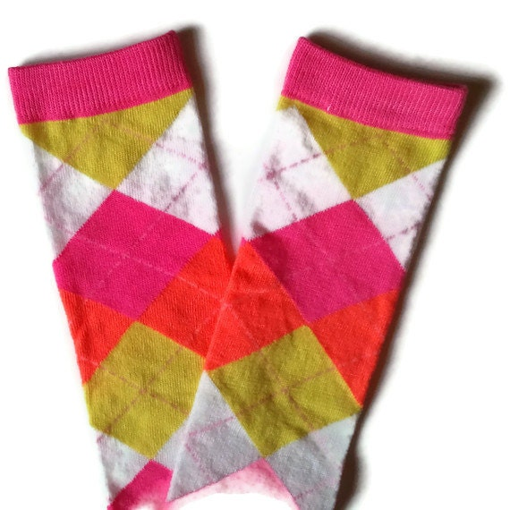CLEARANCE SALE Baby Leg Warmers Neon Pink Orange Yellow and White Argyle Fits Most Infants Toddlers and Children