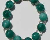 Fused Glass Bracelet, Teal Green, Silver, Hand Made, Fashion Jewelry FREE SHIPPING